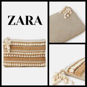 Zara ecru clutch with seashells and beads - NWT